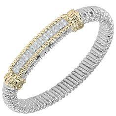 Vahan Sterling Silver & 14K Yellow Gold Diamond Pave Bar Bangle Bracelet