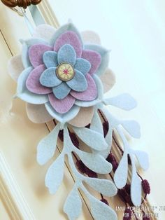 Felt Flower Home Decor Piece in pastel blues and purples. Sizzix Woodland Flower Die and Sweet lotus Die.