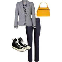 A fashion look from February 2015 featuring ONLY blazers, H&M jeans and Converse sneakers. Browse and shop related looks.
