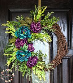 Gorgeous Teal and Purple Peony Grapevine Wreath-Everyday Wreath-Mother's Day-Housewarming-Peonies by VirgiesTreasures on Etsy Diy Fall Wreath, Fall Wreaths, Summer Wreath, Wreath Ideas, Wreaths For Front Door, Door Wreaths, Grapevine Wreath, Front Porch, Turquoise Wreath