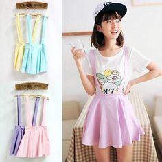 Cute Pastel Suspender Skirt | deepblue - Clothing on ArtFire