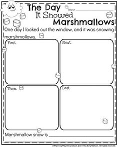 Narrative Writing Prompts for December - The Day it Snowed Marshmallows.