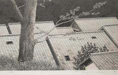 Artist:	 Ryohei (1933 - ) Title:	Roofs of Kurama Road Medium:	Etching Date:	1994