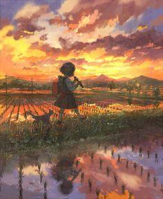 Manga Mädchen spatziert mit Katze über Reisfelder ... Sonnenuntergang ... Schulmädchen