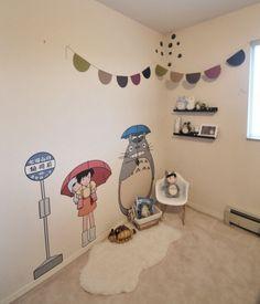 Totoro bedroom decor in the works Totoro Bedroom, Baby Bedroom, Bedroom Decor, Anime Galaxy, Kawaii Room, My Neighbor Totoro, Room Planning, Aesthetic Bedroom, Little Girl Rooms