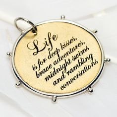 3045 > Life charm #lovepalas #collectinspireshare #love #luck #health #happiness #charms #sterlingsilver #bronze #brass #quote #2014 Night Swimming, Flask, Jewelery, Charmed, My Love, Gifts, Stuff To Buy, Affair, Laughter