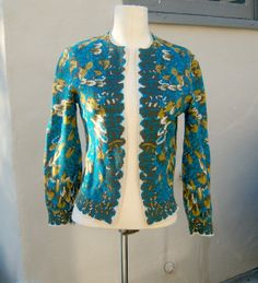 Vintage knit jacquard cardigan / turquoise mustard by dahlilafound, $39.00
