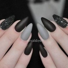 Gray black halloween manicure
