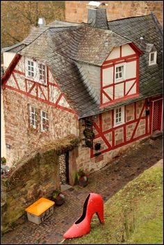 https://flic.kr/p/r8dkgK | Cinderella's red shoe | Marburg, Germany. ( Marburg is associated with the Grimm brothers of fairytale fame!)