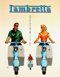 Lambretta Scooters 1950s - original vintage advertising poster by Couronne listed on AntikBar.co.uk
