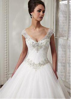 Elegant Tulle & Organza V-neck Neckline Basque Waistline Ball Gown Wedding Dress With Embroidery & Rhinestones #SemiAnnual Sale