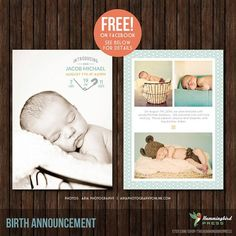 Get this Birth Announcement template FREE on Facebook for the month of June 2014!  Simply become a fan at:  http://www.facebook.com/pages/The-Hummingbird-Press/198748650202793 INSTANT Download 5x7 Birth Announcement by TheHummingbirdPress, $8.00