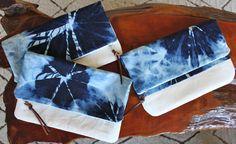 Shibori fold-over clutch. Cute