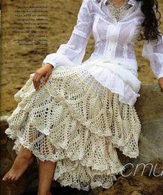 Patron Crochet Falda Capas - Patrones Crochet