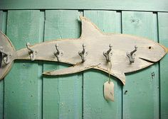 Shark Hook Coat Rack Sign Beach House Decor Wall Art With 6 Hooks By…