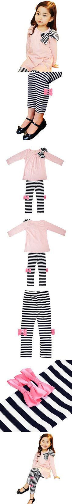 Lisli New Kids Girls Bow Striped Leggings Suit Long Sleeve Shirts Tops Sets Two-piece Suit (5-6Y(130))