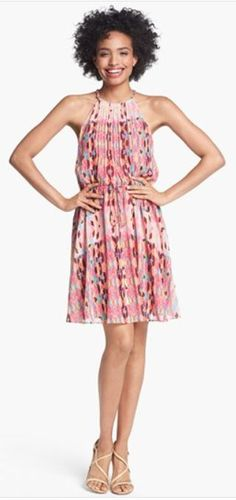 Jessica Simpson Print Pintucked Chiffon Dress