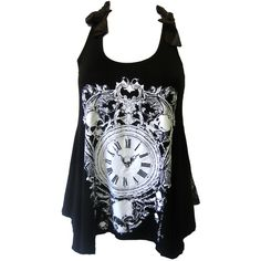 Jawbreaker Skull Clock Lace Top | Gothic Clothing | Emo clothing |... ($25) ❤ liked on Polyvore featuring tops, shirts, tank tops, tanks, lace skull tank, lace shirt, punk rock shirts, skull shirts and punk shirts
