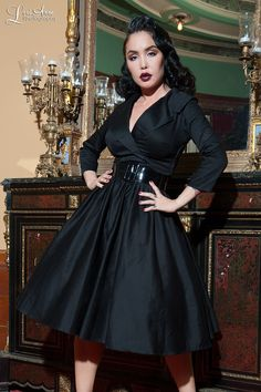 Vintage Style Party Dress with Full Skirt 3/4 sleeves and Wide Collar in Black | Pinup Girl Clothing