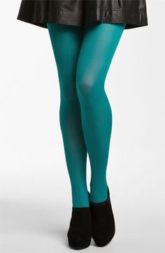 Nordstrom Opaque Control Top Tights (3 for $30) | Nordstrom - navy and teal polka dot