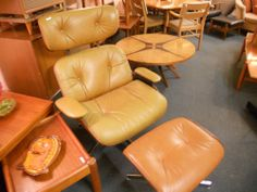Selig Style Plycraft Mid century Chair and Ottoman