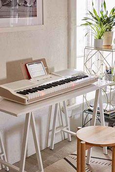 ONE 61-Key Smart Piano Music Bedroom, Bedroom Decor, Home Music Rooms, Studio Musica, Studio Interior, Interior Design, Piano Room Decor, Piano Design, Music Corner