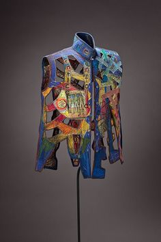 """Kay Khan - Enfold - 30"""" x 23"""" x 12""""; Silk, cotton, paper; deconstructed blouse: quilted, stitched, rebuilt"""