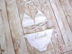 Bride Bikini Top & Bottom Swimwear by TheLittleBridalShop on Etsy