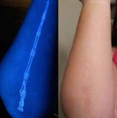 Elder Wand Tattoo Down The Side Of My Right Forearm First Under A Blacklight Immediately