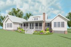 Exclusive Farmhouse Plan with Side Entry Garage - 130010LLS | Architectural Designs - House Plans
