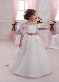 Fabulous Tulle & Satin Off-the-shoulder A-Line Flower Girl Dresses With Beaded Lace Appliques