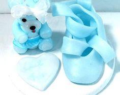 Fimo creativo/miniatura/oso/deslizador/azul/hecho de mano/de la torta de cumpleaños/cumpleaños/idea regalo bebé ducha/tutu/estatuilla/bailarina/bailarín