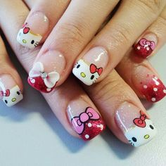 Who said Hello Kitty was just for little girls? Check out these colorful and super cute Hello Kitty nail art designs you're gonna love! Bow Nail Art, Cute Nail Art, Beautiful Nail Art, Nail Nail, Red Nail, Nail Polish, Bow Nail Designs, Nail Art Designs 2016, Nails Design