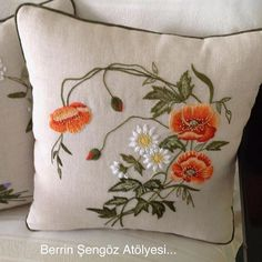 Marvelous Crewel Embroidery Long Short Soft Shading In Colors Ideas. Enchanting Crewel Embroidery Long Short Soft Shading In Colors Ideas. Cushion Embroidery, Embroidered Cushions, Silk Ribbon Embroidery, Crewel Embroidery, Cross Stitch Embroidery, Embroidery Patterns, Machine Embroidery, Embroidery Thread, Art Textile
