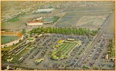 Postcard showing aerial view of Los Angeles Farmers Market (center), Gilmore Stadium (chopped, to the left), and Gilmore Field, home of the Hollywood Stars (just above the chopped view of the stadium). Fairfax Ave, Time Travel Machine, Garden Of Allah, American Green, Aerial View, Nice View, City Photo, Farmers Market