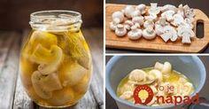 Len 10 minút času vám zaberie príprava tejto vyhlásenej pochúťky. Vynikajúco sa hodí ako príloha ku grilovaným pochúťkam, ale skvele ochutia aj zeleninové šaláty. Pripravte si bleskové marinované huby. Pickles, Cucumber, Oatmeal, Garlic, Food And Drink, Homemade, Vegetables, Cooking, Breakfast