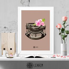 Floral Typewriter print, Vintage Retro art, Hispter wall art, Fashion illustration, Elegant home decor, Poster,  Instant download, Printable