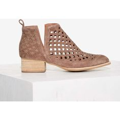 Jeffrey Campbell Taggart Suede Ankle Boot (695 SAR) ❤ liked on Polyvore featuring shoes, boots, ankle booties, brown, suede ankle booties, short boots, cut-out ankle boots, ankle boots and brown booties