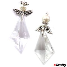 """Simply Crystal Angels Easy DIY ~ Here's another easy way to say """"angel"""" with beads! Kim and Anne cooked up a few variations using our Ice Crystal Drops, our Ivory Pearl Bead Mix #440-IVORY-3PACK,1155 Bali Bead Mix, Angel Wings #1505A, Scroll Style Wings #1607A a few jump rings and eye pins again as connectors. www.eCrafty.com"""