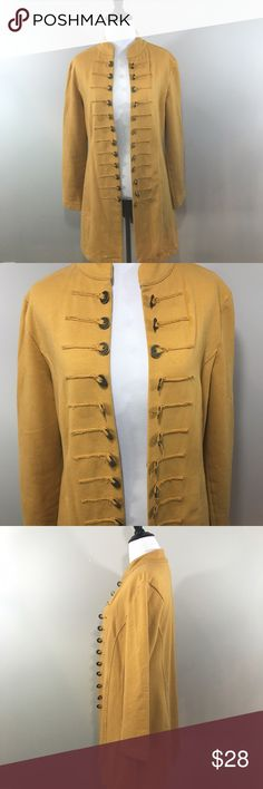 Neon Buddha Mustard Yellow Military Style Trench In excellent used condition! Very soft and stretchy! Gorgeous coin detailing. Size M, true to size. Shown on a S mannequin size 2/4. neon buddha Sweaters Cardigans