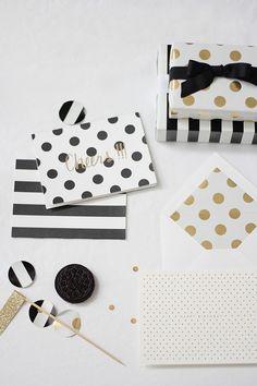 Black & White polka dot and stripe invitations Black White Parties, Black And White, White Gold, Kate Spade Stationery, Polka Dot Wedding, Stripe Wedding, Gold Wedding, Wedding Table, Present Wrapping