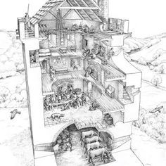 Cutaway drawing of typical Peel Tower