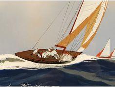 Leon Haffner Sailboat Drawing, Sailboat Art, Glass Boat, Boat Painting, Yacht Boat, Traditional Paintings, Marines, Watercolors, Illustration