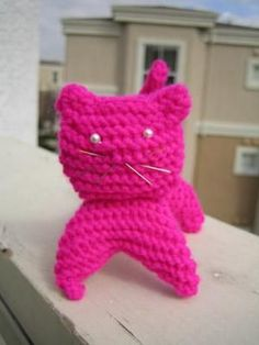 Here's a knitted kitty. The instructions are for a a solid kitty or a grey-n-white kitty You will need: Some cat colored yarn Knitting needles Fleece or scraps for stuffing Optional: thread or yarn for embroidering a face No specific gague, but this works best with needles a bit smaller than what…