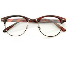 Vintage Optical RX Clear Lens Clubmaster Wayfarer Glasses 2946 49mm ($11) ❤ liked on Polyvore