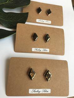 A personal favourite from my Etsy shop https://www.etsy.com/uk/listing/497926012/gold-glazed-diamond-shape-stud-earrings