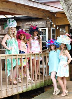 A Vibrant & Colorful Kentucky Derby Garden Party // Hostess with the Mostess® Kentucky Derby Outfit, Kentucky Derby Fashion, Derby Attire, Derby Outfits, Outfits With Hats, Tea Party Attire, Tea Party Outfits, Garden Parties, Party Garden