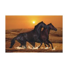 Horses running at ocean sunset canvas from Zazzle