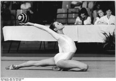 German rhythmic gymnast Bianca Dittrich performing ball routine (1986).