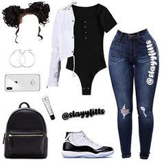 White with black paint vest, black bodysuit, dark Jean's, black and white jordans Boujee Outfits, Baddie Outfits Casual, Cute Swag Outfits, Cute Comfy Outfits, Teen Fashion Outfits, Retro Outfits, Girly Outfits, Look Fashion, Stylish Outfits